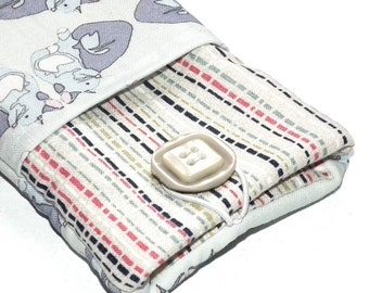 Kitty stripe iPhone pouch with pocket for key, bank card, cash, etc, phone pouch, phone case, ipod case, cat design