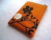 iPad Mini Case, Cover, Bag  - Birds on Orange - Padded and Zipper Closure