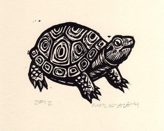 Turtle Linocut Art Print