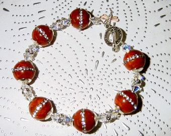 Glamour Puss Sponge Coral with Rhinestones, Swarovski Crystals and Sterling Silver Bracelet