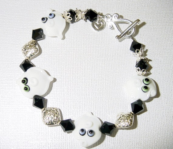 Ghostly BOOS Quartet Ghost Lampwork Beads with Swarovski Crystals and Sterling Silver Bracelet