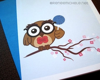 Cute Owl with Lollipop Note Card