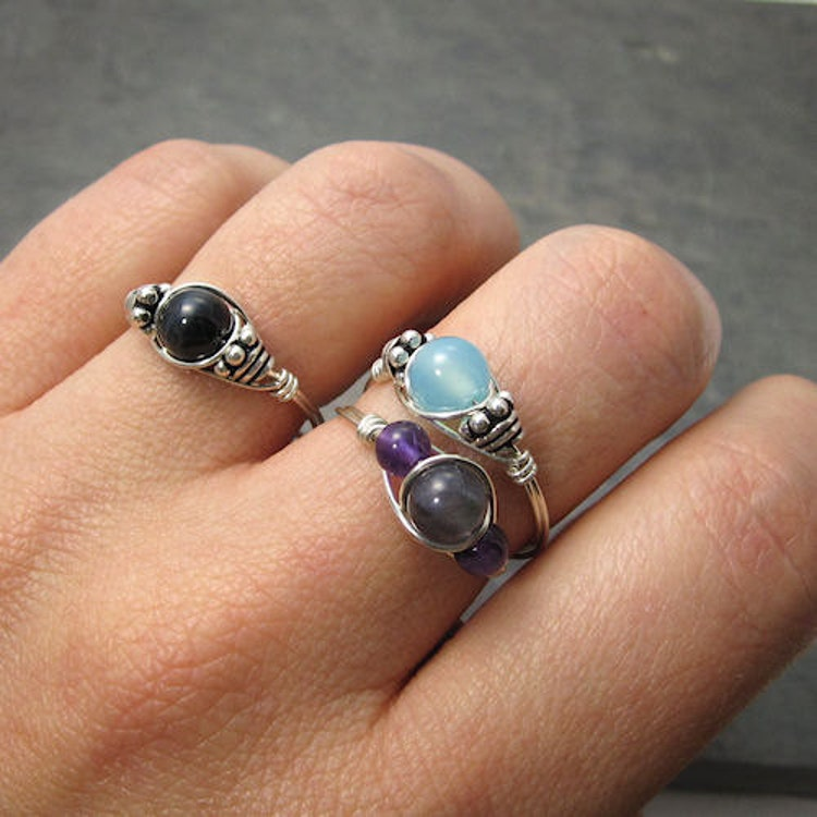 Black Tourmaline Wrapped In Silver Rings
