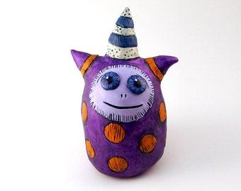 Purple Monster Sculpture Tangerine and Violet Figurine