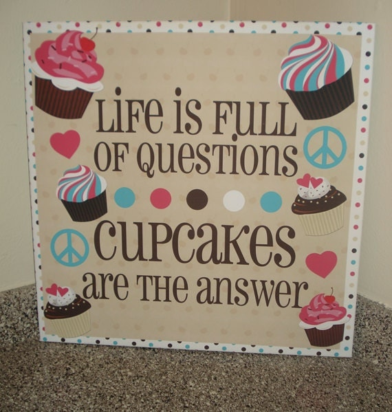 Cake Art Words : Large 22x22 Cute Cupcake Canvas Heart Peace