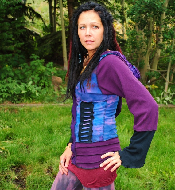 DeStroYed HoodiE, Pixie Hood, FesTiVaL ClothinG, Hand Dyed Eco-Gypsy Top