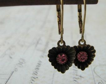 Pink Heart Rhinestone Earrings,  Vintage Scalloped Heart Earrings, Pink Heart Rhinestone Earrings, Estate Earrings, Bridesmaid Earrings