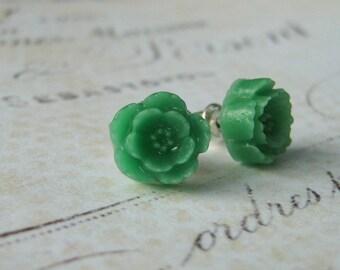 Green Floral Earrings, Flower Earrings, Stud Post Earrings, Sterling Silver Stud Post Earrings, Resin Flower Cabochon Earrings