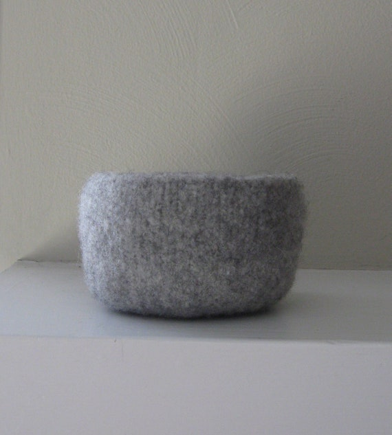 Felted Bowl in Light Grey Heather - In Stock - Ready to Ship