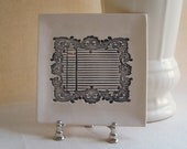 Reserved listing for Kevin - Number five vintage style small square porcelain tray/dish, jewelry holder