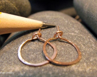 Tiny 14K Rose Gold Hammered Hoops. 10mm. Ready to Ship