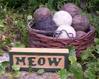 SALE-4  Wool Ball Cat Toys--Natural Wool-Hand Felted--CATNIP FREE--Animal Rescue--Free Shipping