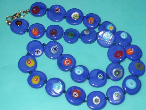 Vintage Large Flat Bright Blue Millefiori Glass Bead Necklace