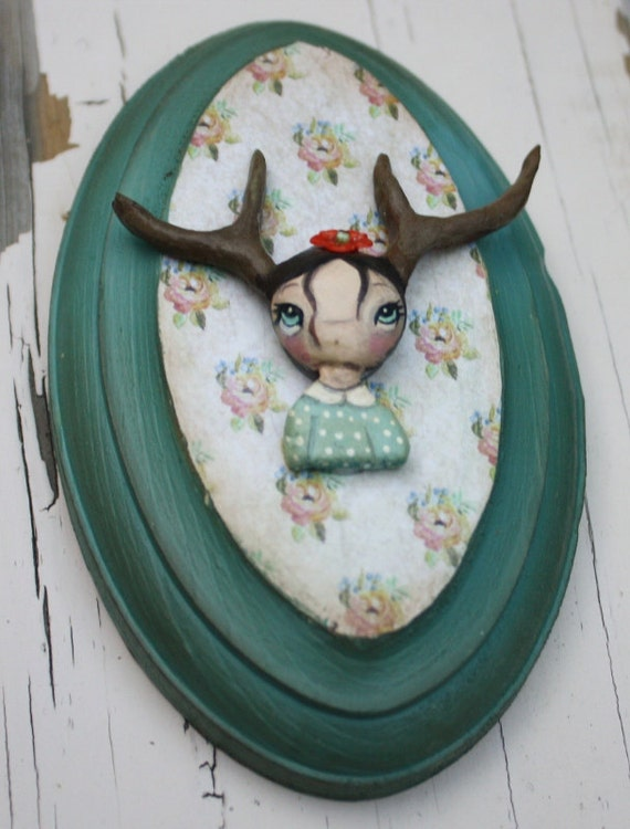 Deer Porcelain Wall Doll---3 x 5  Oval Wood Plaque