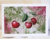Note Card - Hand Stenciled Cherries cherry