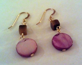 Mother of Pearl and Tigereye Earrings
