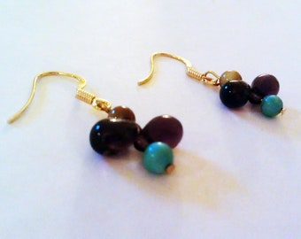 Turquoise, Tigereye, and Czech Glass Earrings