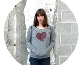 The Rebound - winter fashion - womens sweatshirt - heart in stitches on Alternative Apparel heather gray eco-fleece pullover - S/M/L/XL
