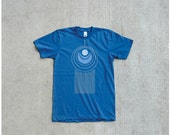 Mens t shirt - organic cotton - blue and turquoise - LARGE - art deco peacock feather print on American Apparel - TAIL FEATHER