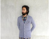 Custom monogram cardigan - winter fashion - MENS/UNISEX - hand-printed initial in black ink on heather gray jersey blend sweaters - XS-L