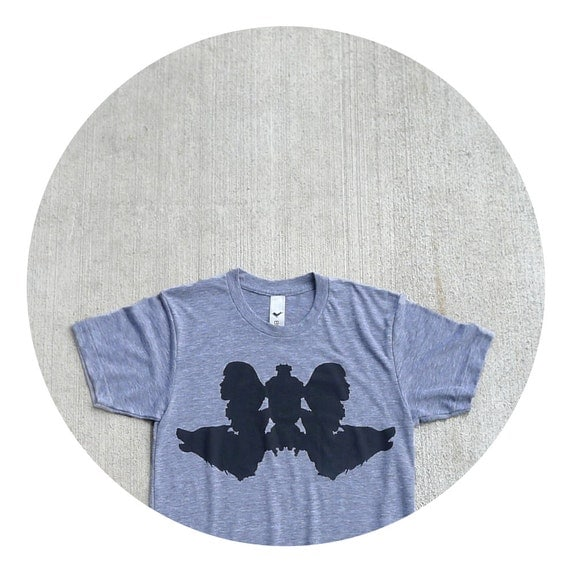 Wolf Like Me - mens tshirt - S-XL - wolf inkblot screenprint in jet black on American Apparel heather gray track tees