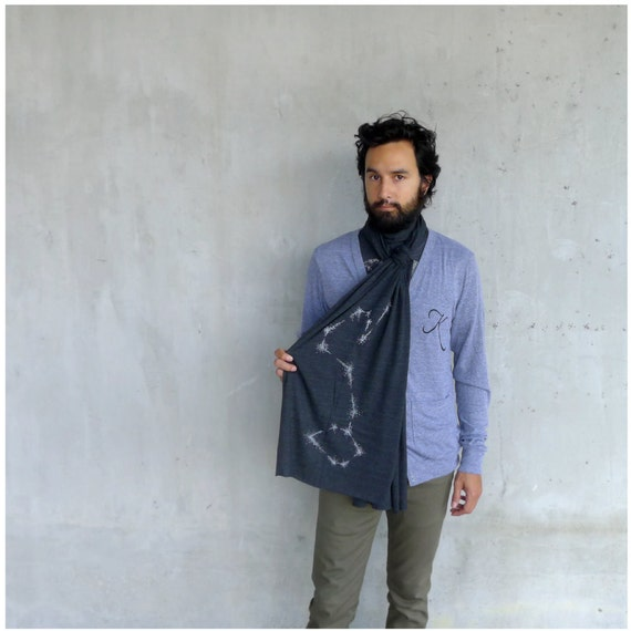 Scorpio Rising - mens scarf - fall fashion - zodiac print on American Apparel heather black jersey - gift for him