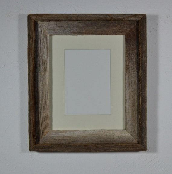 Gorgeous barnwood picture  frame 8x10 with French gray mat for 5x7 photo glass,mat, backing included free shipping
