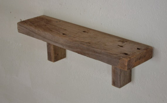 Excellent reclaimed wood wall shelf  beautiful gray patina  21x5x6 cool nail holes