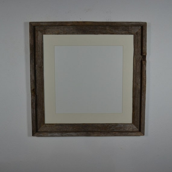 16x16 Barnwood Photo Frame With 12x12 Off White Mat