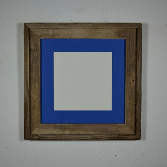 12x12 frame from reclaimed barnwood with blue 8x8 by barnwood4u. Black Bedroom Furniture Sets. Home Design Ideas
