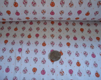 NEW Petite ladybugs in a row on cotton rib knit fabric 1 yd