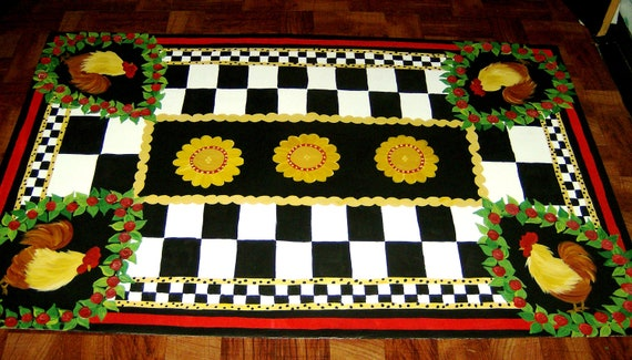 ROOSTER  Floorcloth / French country/ Red, French Gold, White & Black/  3'x5'