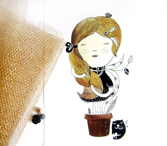 SALE Original Watercolor Girl Illustration - My roots. Home decor. Girl with cat. Original painting.