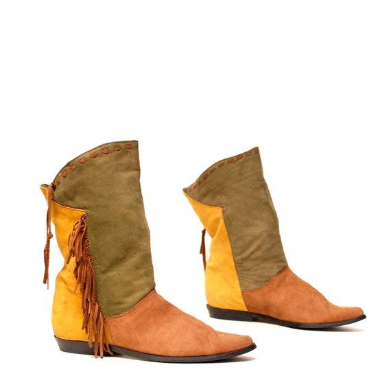 size 9 SOUTHWEST multicolor leather 80s FRINGE moccasin boots