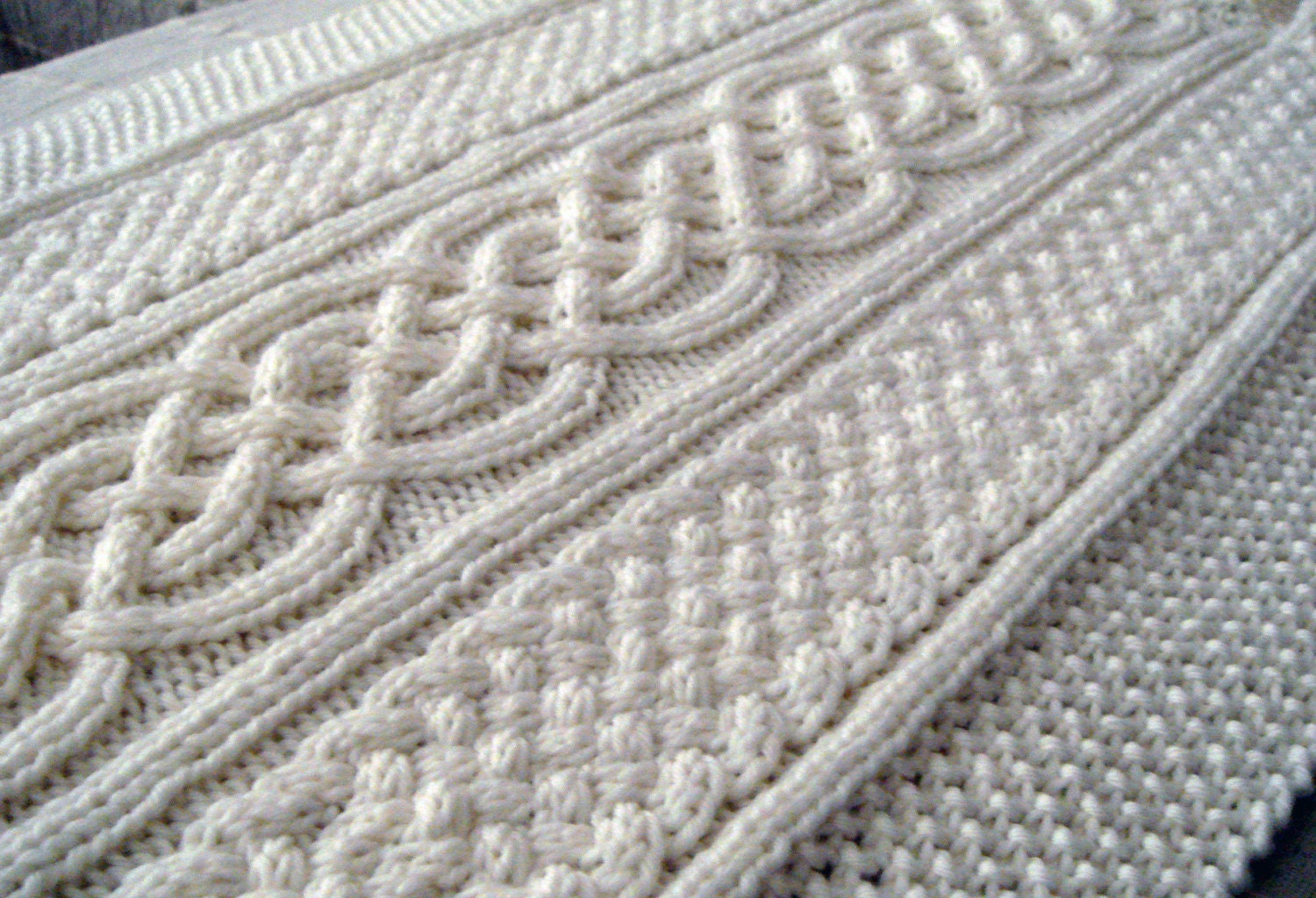Knitting Pattern For Throw With Cables : Celtic blanket knitting pattern celtic cable design Celtic