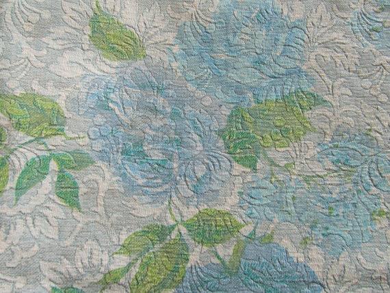"RESERVED FOR SUSAN: Vintage 70's Vinyl Tablecloth Blue Floral Pattern 50"" x 65"""
