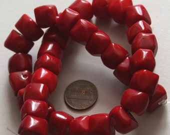 15 in strand of red coral nugget beads 10-14mm
