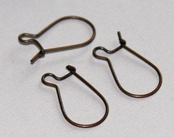 Antique ntique copper Kidney Earwire 19x10mm