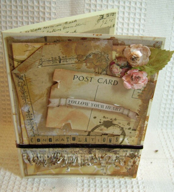 Card Handmade Greeting stamped Congratulations - kitsnbitscraps
