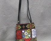 Recycled and resurfaced vintage crochet bag, small shoulder bag, ethnic decor