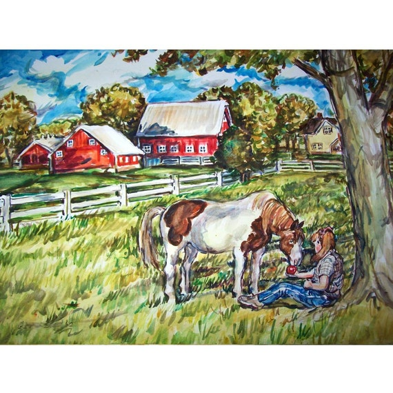 An Apple A Day - 11x15 original painting landscape watercolor OOAK, Country, Farm, Rural, Girl, Horse, Tree, Barn