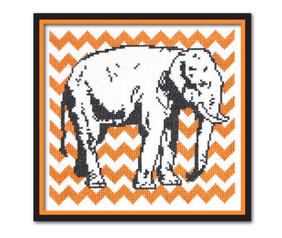 Chevron Elephant Cross Stitch Pattern Instant Download