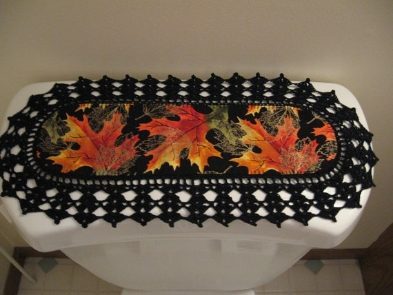 Aunt Roo's MINI Fall leaves fabric runner w/ crocheted edging for toilet tank or small shelf/table