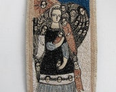 seeking mystery - an original embroidery artwork - portrait