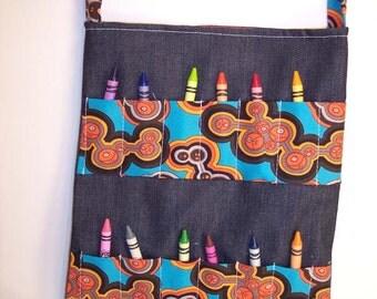 Children's Tote Bag, Activity Bag, Crayon Bag - Dark Denim with Geometric Print - READY MADE