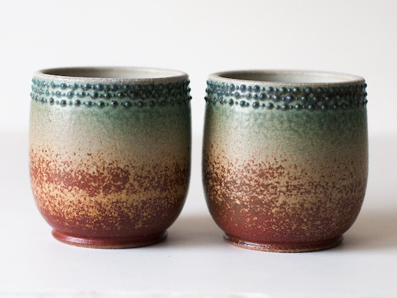 Set of Two Cups, Stoneware, Rust Red and Turquoise, 12 Ounces