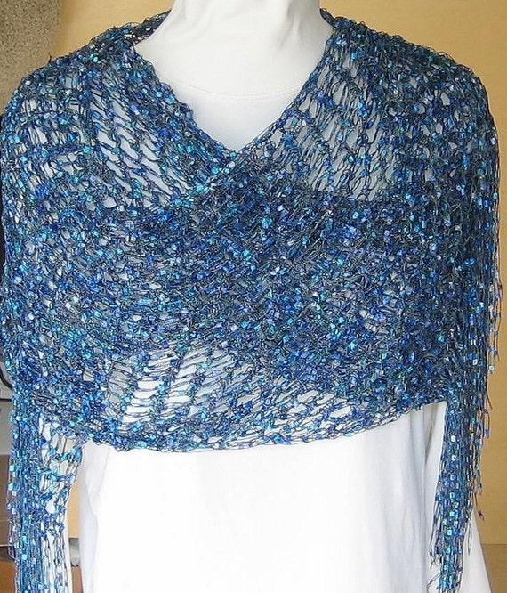 Crocheted Shawl Wrap Blue