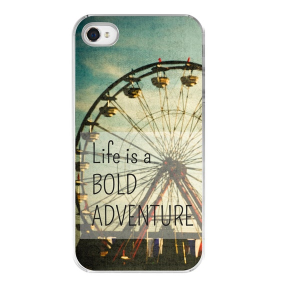hipster iphone 4s cover . iPhone 4 case . steampunk . carnival photography . typography . cell phone cover .Bold Adventure