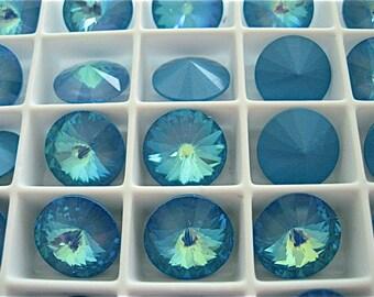 4 Ultra Blue AB Swarovski  Rivoli Stone 1122 12mm