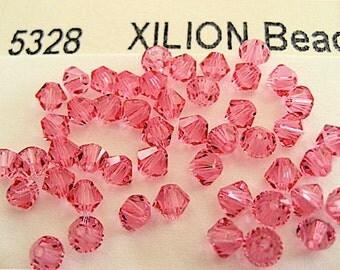 48 Rose Swarovski Crystal Beads Bicone 5328 4mm
